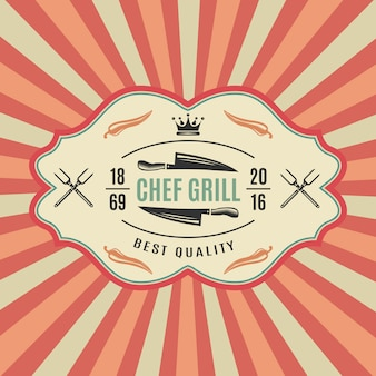 Big retro bbq label with chief grill best quality