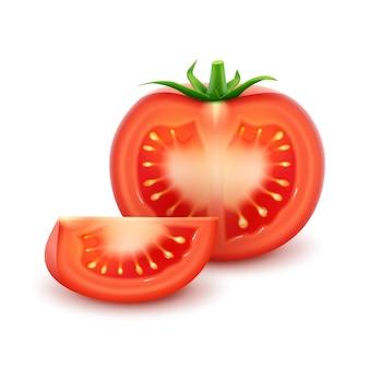 Big ripe red fresh cut tomato close up isolated on white background