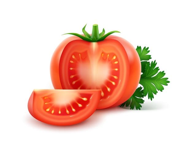 파 슬 리와 큰 잘 익은 빨간 신선한 잘라 전체 토마토는 흰색 배경에 고립 닫습니다