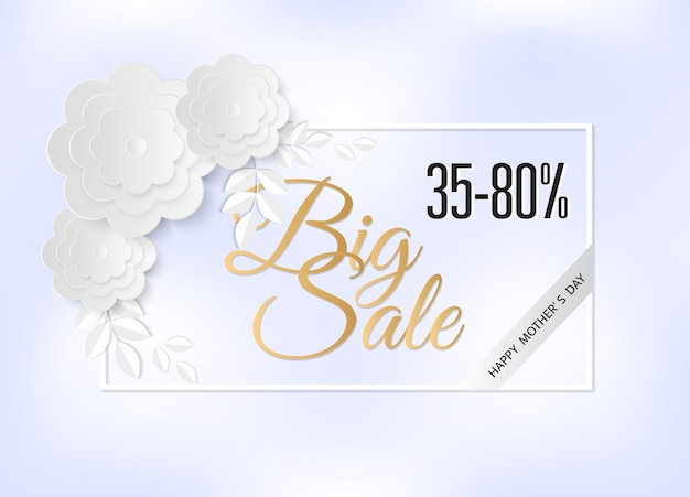 Big sale 35-80% and happy mother's day design for banner and background