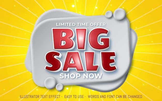 Big sale 3d editable promotion banner in yellow color