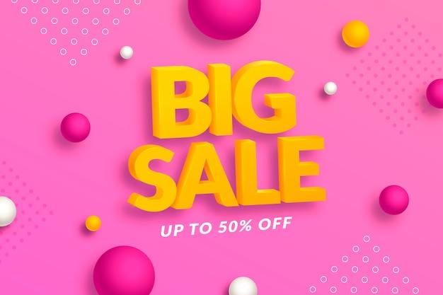 도트와 큰 판매 3d 분홍색 배경