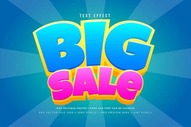 Большая распродажа 3d текстовый эффект на фоне тоска
