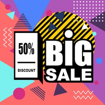 Big sale abstract memphis style web banner.