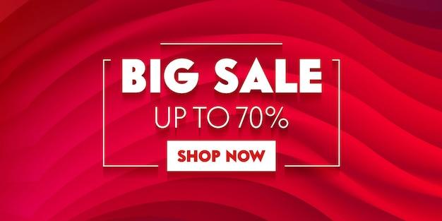 Большой рекламный баннер продаж с типографикой на красном фоне с абстрактными волнами. дизайн шаблона брендинга для скидки на покупки. оформление фона, промо в социальных сетях. векторные иллюстрации