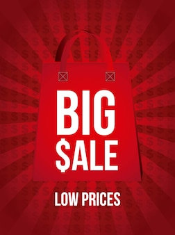 Big sale announcement over red background vector