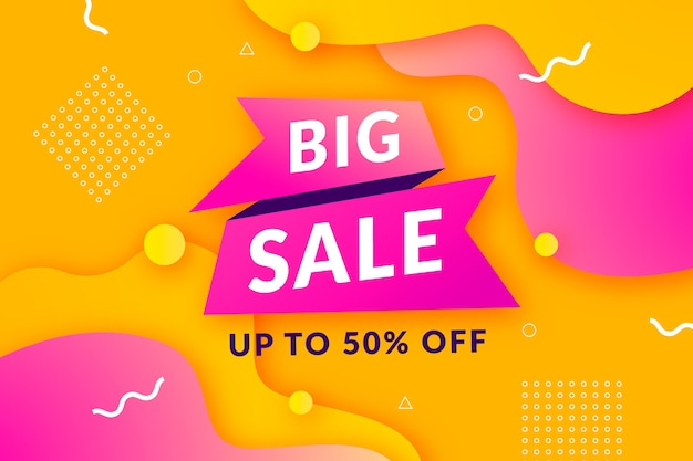 Big sale background with golden and pink memphis pattern