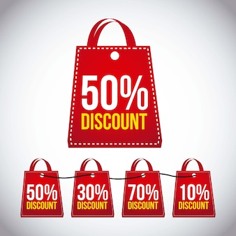 Big sale bags over gray background vector
