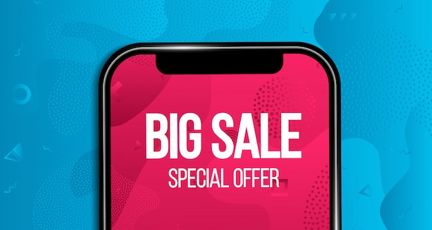 Big sale banner, background, discount offer phone.