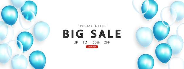Big sale banner, blue balloons background.  illustration