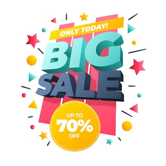 Big sale banner colorful 3d