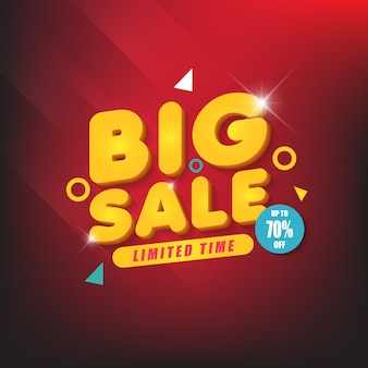 Big sale banner design template with dark red background