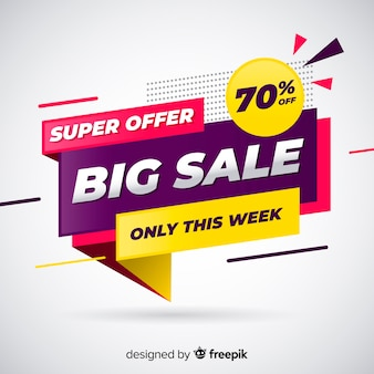 Big sale banner in flat design Free Vector