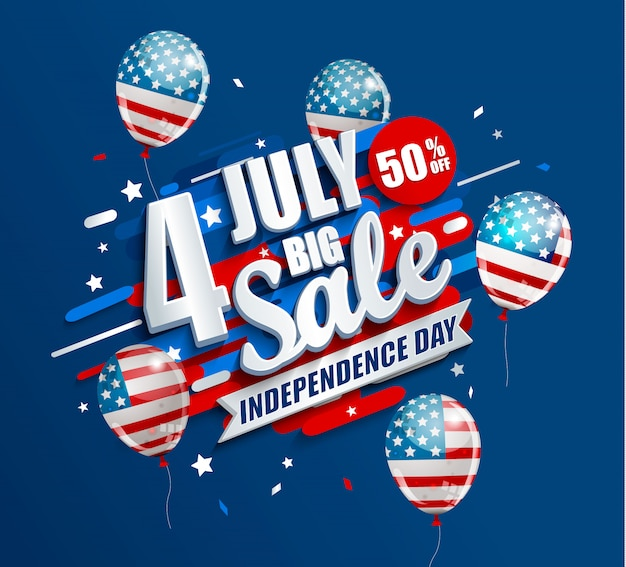 Big sale banner for independence day 4th of july in usa