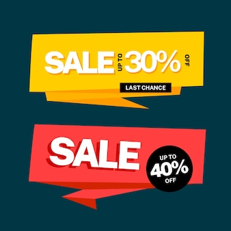 Big sale banner in origami style set