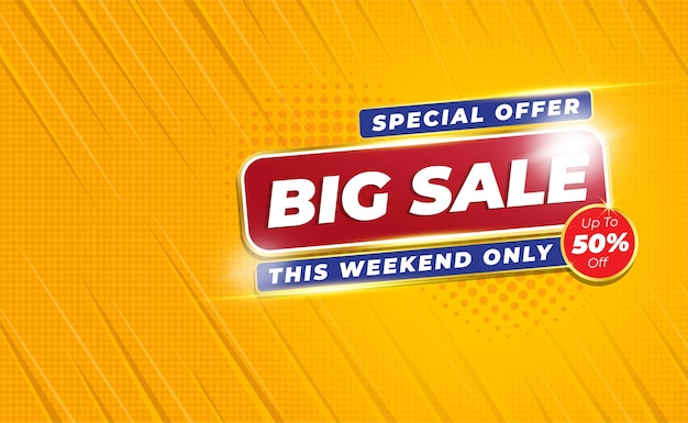 Big sale banner or poster  with comic zoom background style