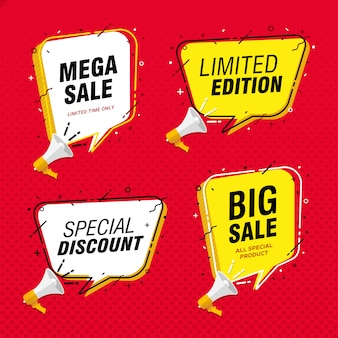 Big sale banner promotion with speech bubble