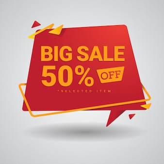 Big sale banner in red and yellow