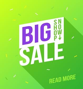 Big sale banner. sale and discounts. flat design banner template. template with big sale for promotion design. vector template. store poster vector. store flyer label.