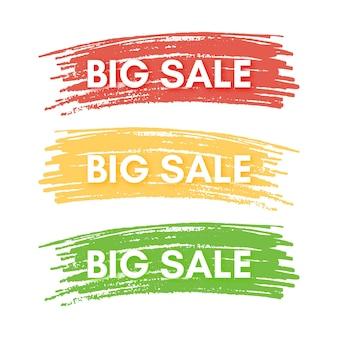 큰 판매 배너입니다. 다채로운 페인트 반점에 3 개의 판매 배너의 집합입니다. 벡터 일러스트 레이 션
