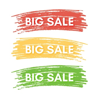 Big sale banner. set of three sale banners on the colorful painted spots. vector illustration
