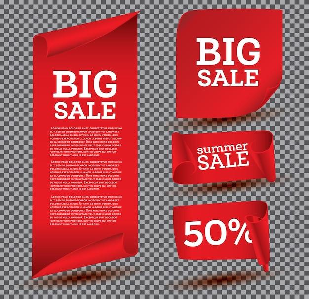 Big sale banner set on transparent background. ribbon.