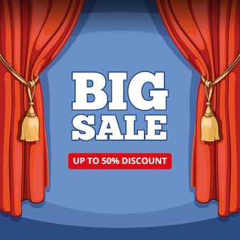 Banner di grande vendita, offerta speciale per la promozione aziendale. sconto shopping, prezzo e consumismo, sipario vintage, palcoscenico e spettacolo