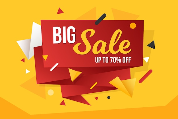 Big sale banner template design in origami style