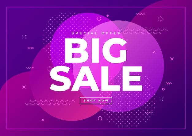 Шаблон баннера big sale. специальное предложение большой распродажи на абстрактном фоне.