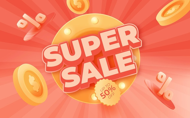 Big sale banner, this weekend special offer advertising banner template, vector illustration