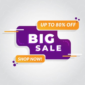 Big sale banner with abstract shapes