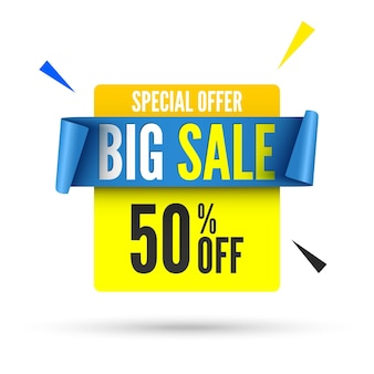 Big sale banner with blue ribbon.
