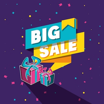 Big sale banner with gifts