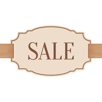 Big sale banner with golden ribbon.