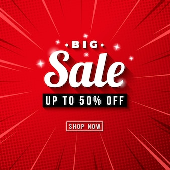 Big sale banner with red comic zoom background