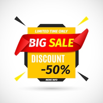 Big sale banner with red ribbon.  illustration.