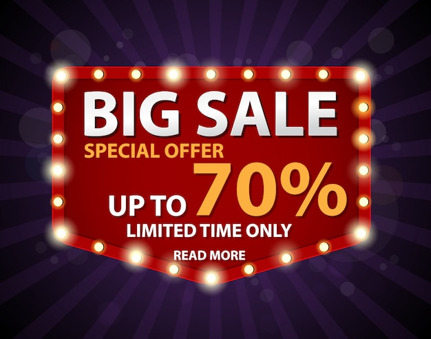 Big sale banner with retro sign