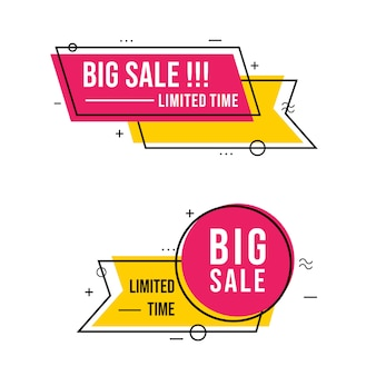 Big sale banner with simple line art