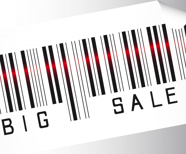 Big sale bar code  over gray background vector close up