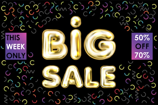 Big sale black banner with golden balloon lettering