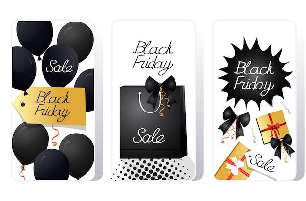 Большая распродажа черная пятница специальное предложение промо маркетинг концепция праздничных покупок набор экранов смартфонов онлайн мобильное приложение