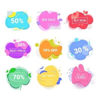Big sale buy now stickers set special offer shopping discount badges fluid color abstract banners with flowing liquid shapes