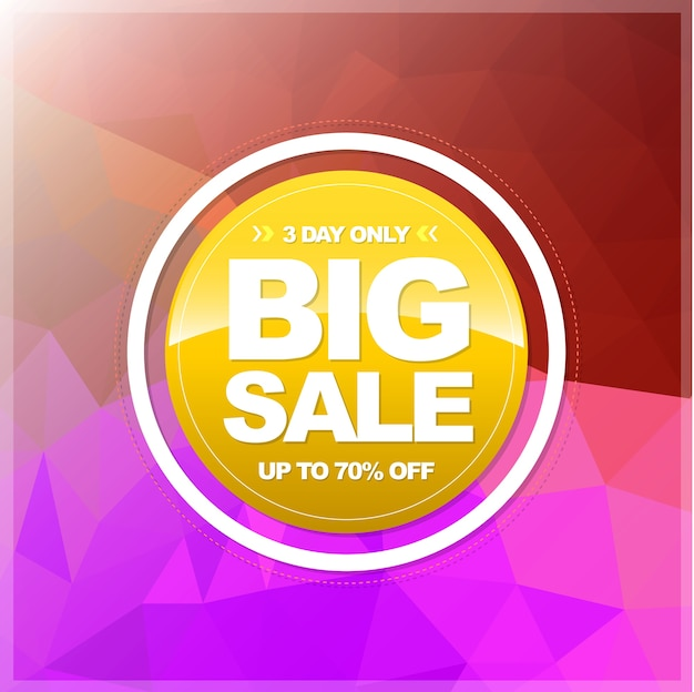 Big sale circle banner on abstract triangles texture