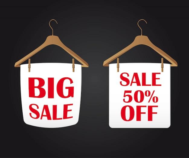 Big sale clothes hanger over black backgrogund vector