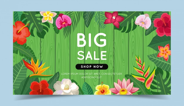 Big sale colorful banner with tropical flowers and leaves and wooden background.