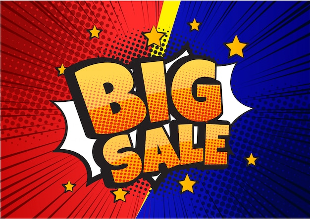 Big sale comic speech bubble design banner