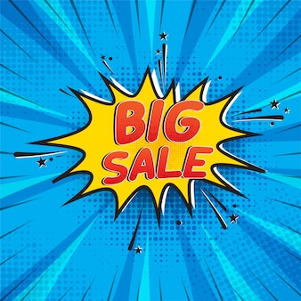 Big sale in comic style background