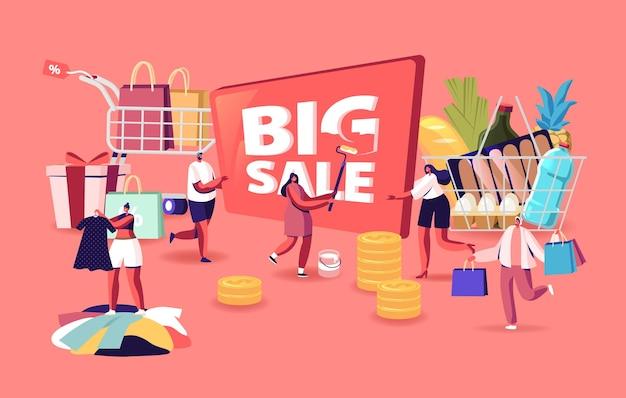 Концепция большой продажи. персонажи делают покупки по сезонной скидке. веселые шопоголики с тележкой, полной покупок и продуктов. счастливые мужчины и женщины с пакетами. мультфильм люди векторные иллюстрации