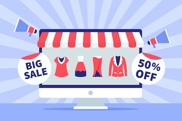 Big sale concept with laptop screen and fashion icon for template banner or background