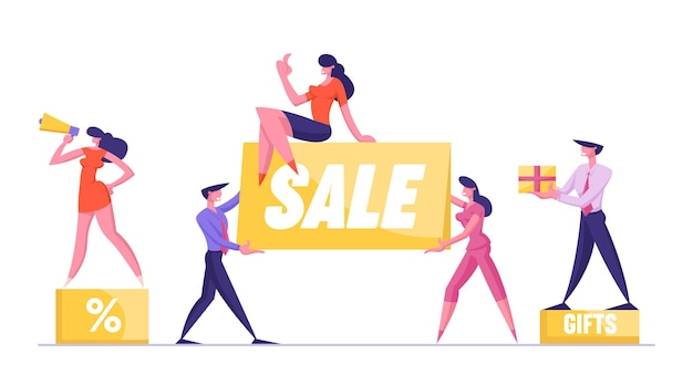 확성기와 큰 판매 개념 여자 발기인 백분율 기호 연단에 서